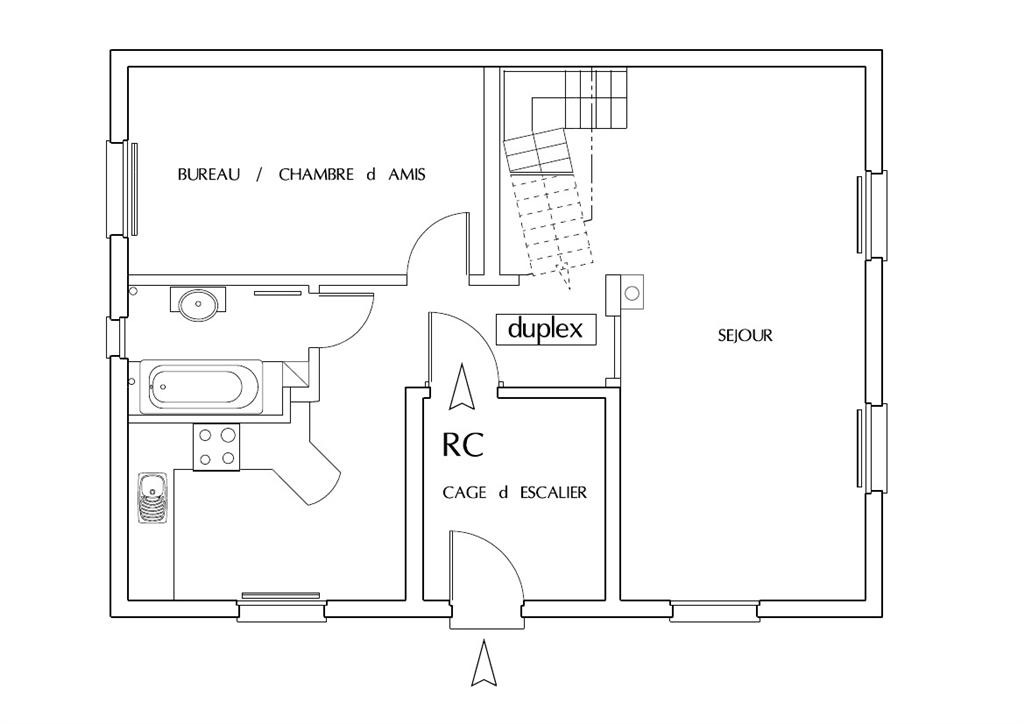 plan d'un appartement f1
